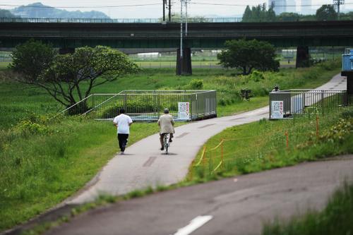 多摩川の遊歩道。その一